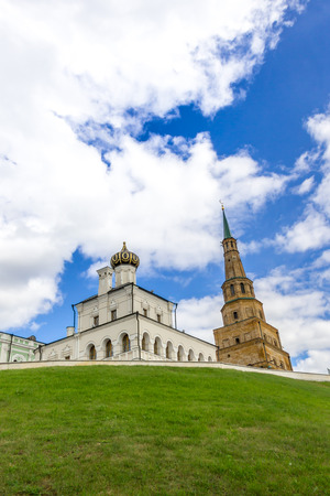 Tower Syuyumbike and orthodox cathedral in Kazan Kremlin.