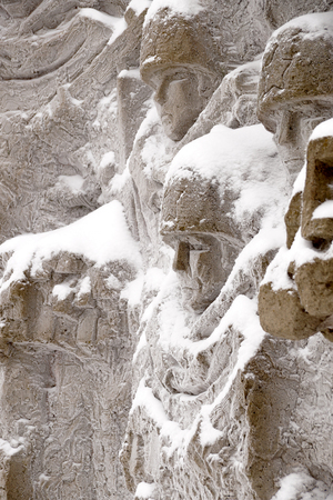 Defenders of Stalingrad, a fragment of a bas-relief of Wall ruins on Mamayev Kurgan in the winter
