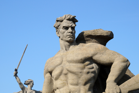 Monument element To a step backwards on Mamayev Kurgan in the city of Volgograd
