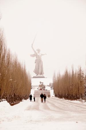 Memorial complex Mamayev Kurgan in the hero-town of Volgograd in winter time under snow