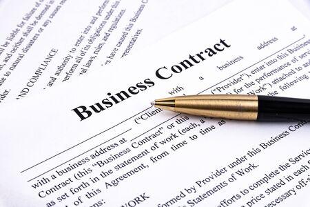 Photo pour The pen lies on the contract. Business relationship concept. - image libre de droit