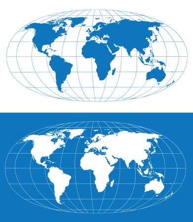 Illustration for Vector world map with grid. Separate layers - Royalty Free Image