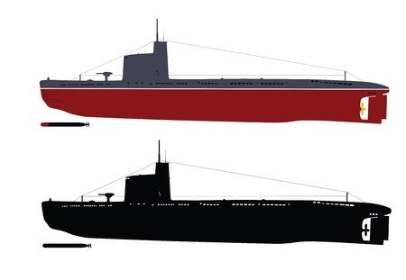 Soviet M-class  Malyutka  submarine  illustration  color and black white    Separate layers