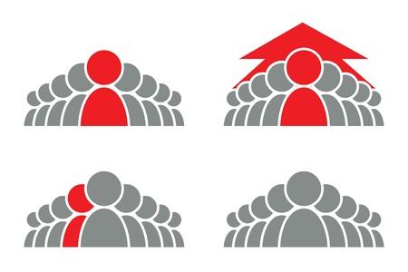 Vektor für Stylized group of people and arrow  Vector icon  - Lizenzfreies Bild