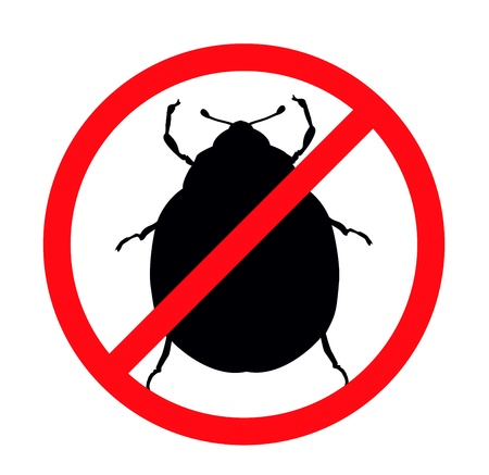 Potato beetle silhouettes isolated. Insect repellent emblem