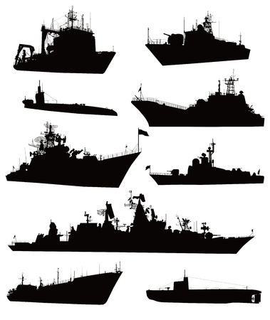 High detailed military ship  silhouettes  set