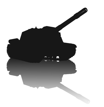 WW2 tank vector silhouette with reflection