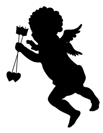 Cupid with arrows silhouette