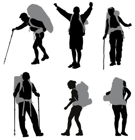 Illustration pour People with backpack silhouettes set - image libre de droit