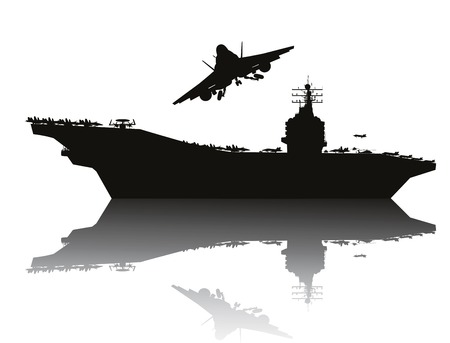 Illustration pour Aircraft carrier and flying aircraft detailed silhouettes    - image libre de droit