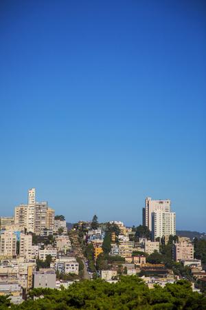 Skyline, San Francisco,  lombard street, california
