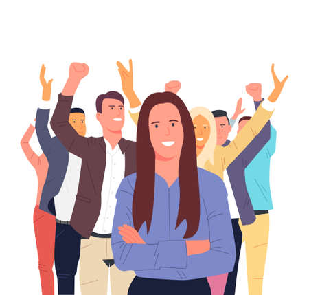 Illustration for Successful team with happy workers. Teamwork, team, cooperation, coworking, cooperation concept. - Royalty Free Image