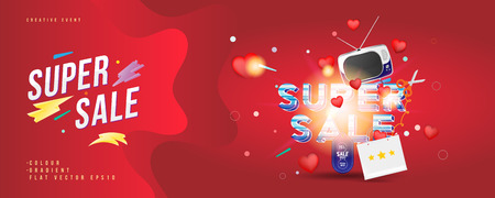 Illustration for Super sale of 25% off. The concept for big discounts with voluminous text, a retro TV and red hearts on a red background with light effects. Flat vector illustration - Royalty Free Image