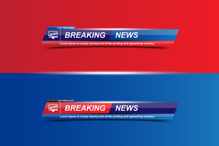 Ilustración de Breaking News template title with shadow on white background for screen TV channel. Flat vector illustration - Imagen libre de derechos