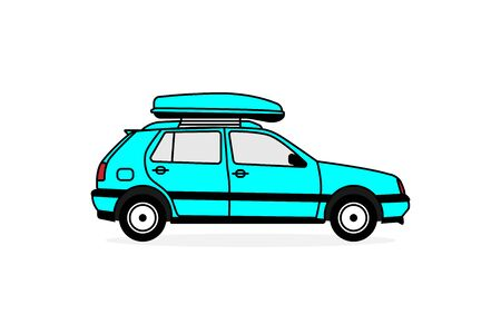 Illustration for Passenger car with a roof rack for traveling by automobile. Flat vector illustration EPS10. - Royalty Free Image