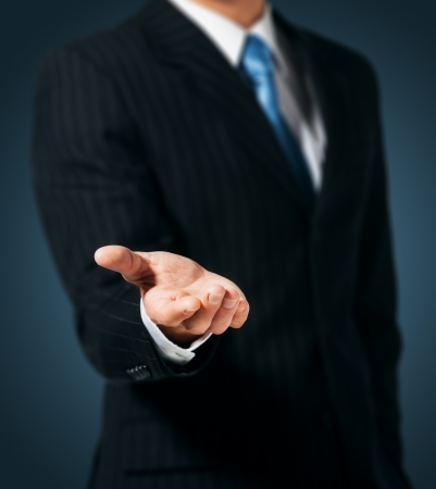Businessman with empty hand