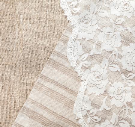 Photo pour light natural linen background with lace - image libre de droit