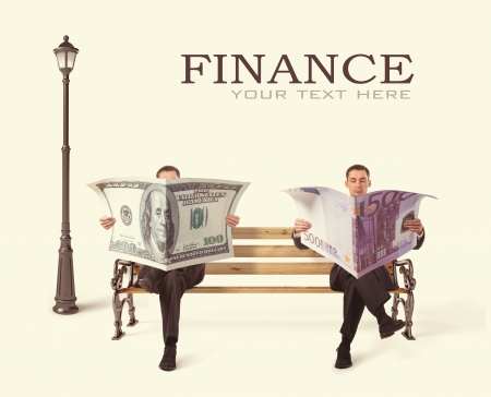 Photo for Business People sitting on a bench with currency in hands - Royalty Free Image