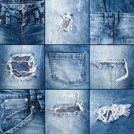 set of textures ripped jeans