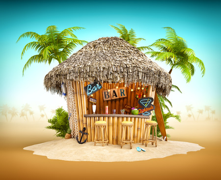 Bamboo tropical bar on a pile of sand. Unusual travel illustrationの写真素材