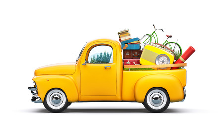 Photo pour Pickup truck with suitcases, radio and bicycle in the trunk. Unusual travel illustration - image libre de droit
