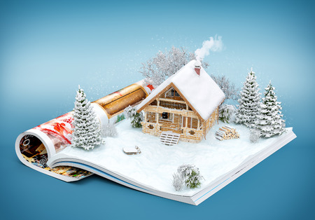 Photo pour Cute log house on a page of opened magazine in winter. Unusual winter illustration - image libre de droit