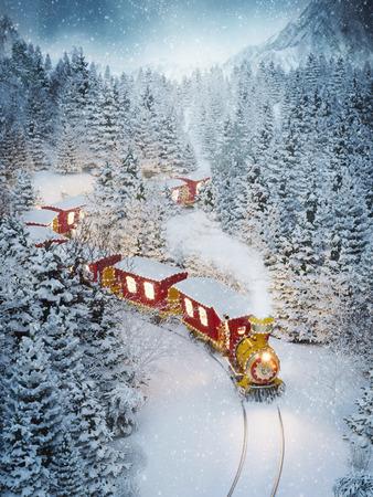 Foto de Amazing cute christmas train goes through fantastic winter forest in north pole. Unusual christmas 3d illustration - Imagen libre de derechos