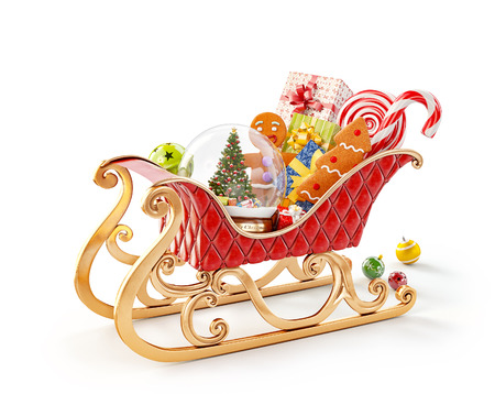 Foto de Unusual 3D illustration of red christmas sleigh full of gifts.  Christmas and new year concept isolated on white - Imagen libre de derechos