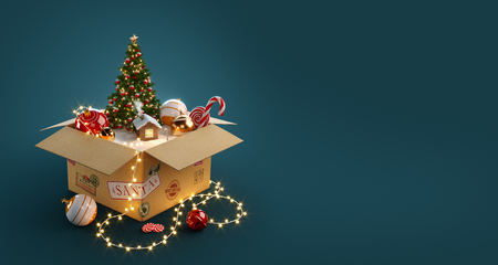 Photo for Opened gift box full of christmas  toys, christmas tree and cute little house from santa. Unusual christmas 3d illustration - Royalty Free Image