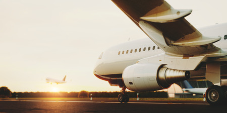 Photo pour White commercial airplane standing on the airport runway at sunset. Passenger airplane taking off. Airplane concept 3D illustration. - image libre de droit