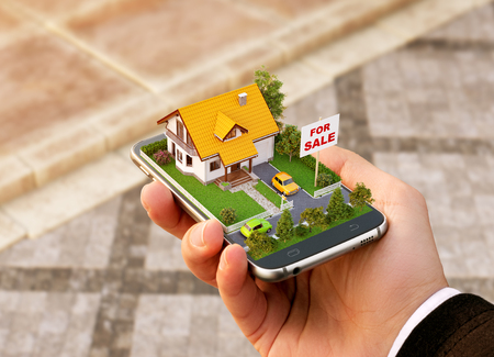 Photo for Smartphone application for online searching, buying, selling and booking real estate. Unusual 3D illustration of beautiful house on smartphone in hand - Royalty Free Image