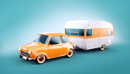 Photo pour Retro car with white trailer. Unusual 3d illustration of a caravan. Camping and traveling concept - image libre de droit