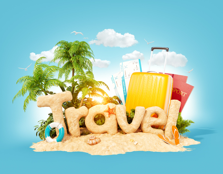The word Travel made of sand on a tropical island. Unusual 3d illustration of summer vacation. Travel and vacation concept.