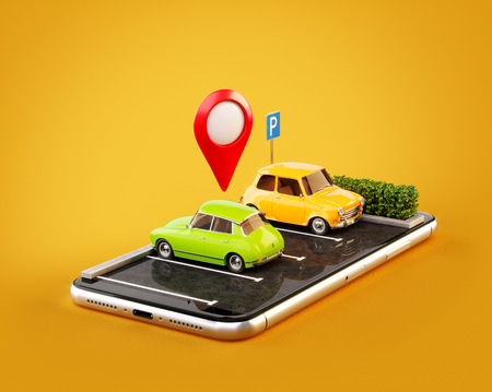 Unusual 3d illustration os smartphone application for online searching free parking place on the map. GPS Navigation. Parking and car sharing concept