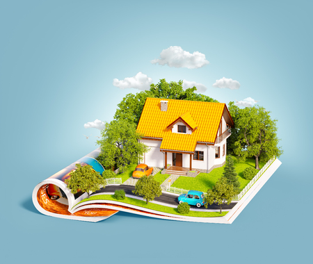 Photo pour White house of dream with white fence, garden and trees on opened pages of magazine. Unusual 3d illustration. Travel and camping concept - image libre de droit