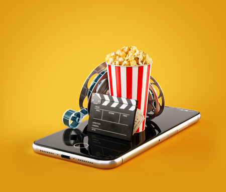 Photo pour Smartphone application for online buying and booking cinema tickets. Live watching movies and video. Unusual 3D illustration of popcorn, cinema reel, clapper board and tickets on smarthone in hand - image libre de droit