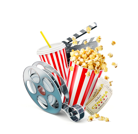 Photo pour Popcorn, cinema reel, disposable cup, clapper board and tickets isolated on white. Concept cinema theater 3D illustration. - image libre de droit