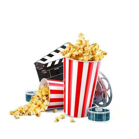Foto de Popcorn, cinema reel, disposable cup, clapper board and tickets isolated on white. Concept cinema theater 3D illustration. - Imagen libre de derechos