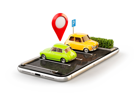 Photo pour Isolated unusual 3d illustration os smartphone application for online searching free parking place on the map. GPS Navigation. Parking and car sharing concept - image libre de droit