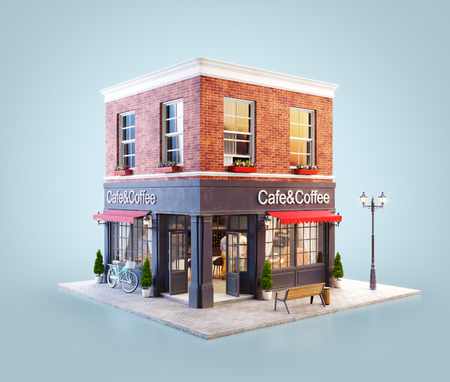 Unusual 3d illustration of a cozy cafe, coffee shop or coffeehouse building with red awning