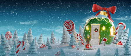 Photo pour Amazing fairy house decorated at christmas in shape of christmas bauble with red ribbon and christmas lights in magical forest with candy canes. Unusual christmas 3d illustration postcard. - image libre de droit