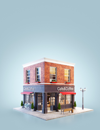 Photo pour Unusual 3d illustration of a cozy cafe, coffee shop or coffeehouse building with red awning - image libre de droit