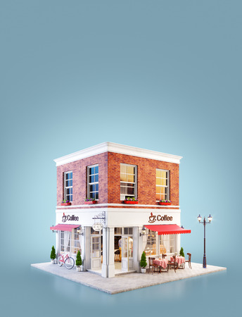 Photo pour Unusual 3d illustration of a cozy cafe, coffee shop or coffeehouse building with red awning and outdoor tables - image libre de droit