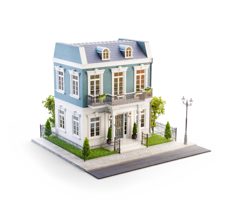 Foto de Unusual 3d illustration of a beautiful house with white entrance, lawn and small cute garden at the road in nice neighborhood. Isolated - Imagen libre de derechos