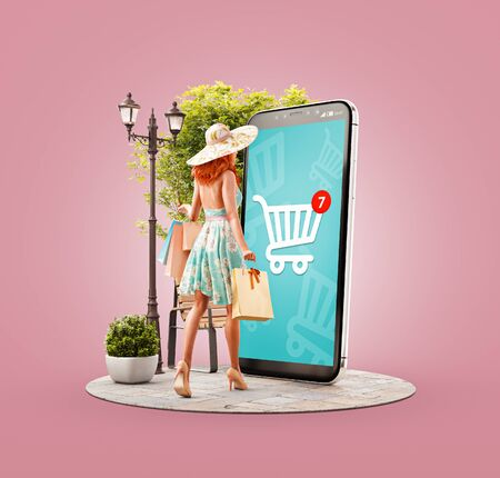 Photo pour Unusual 3d illustration of a Happy woman with shopping bags doing online shopping using smartphone with shopping cart on screen. Smartphone apps concept. Consumerism and shopping. - image libre de droit