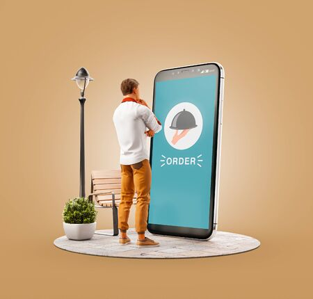 Photo pour Unusual 3d illustration of a young man standing at big smartphone and ordering food. Food Delivery apps concept. Online restaurant food. - image libre de droit