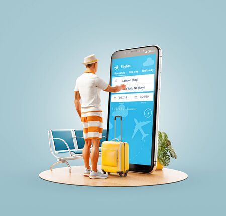 Photo pour Unusual 3d illustration of a young man standing in front of smartphone and using travel fare aggregator application for searching flights. Cheap flights searching and booking apps concept. - image libre de droit