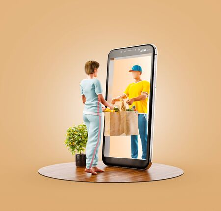 Photo pour Unusual 3d illustration of a Young woman receiving order from courier. Food delivery service smart phone application. Smartphone apps concept. - image libre de droit