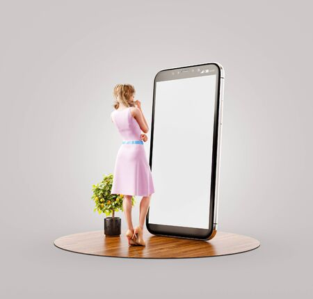 Photo pour Unusual 3d illustration of a pretty woman in summer dress standing in front of smartphone and using smart phone application. Smartphone apps concept. - image libre de droit