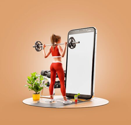 Photo pour Unusual 3d illustration of a young woman in gym doing squats with barbell in front of smartphone and using smart phone for exercises. Smartphone sports and gum apps concept. - image libre de droit